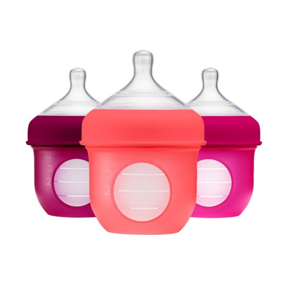 Nursh (3 pack) Silicone pouch bottles / 4oz / Pink