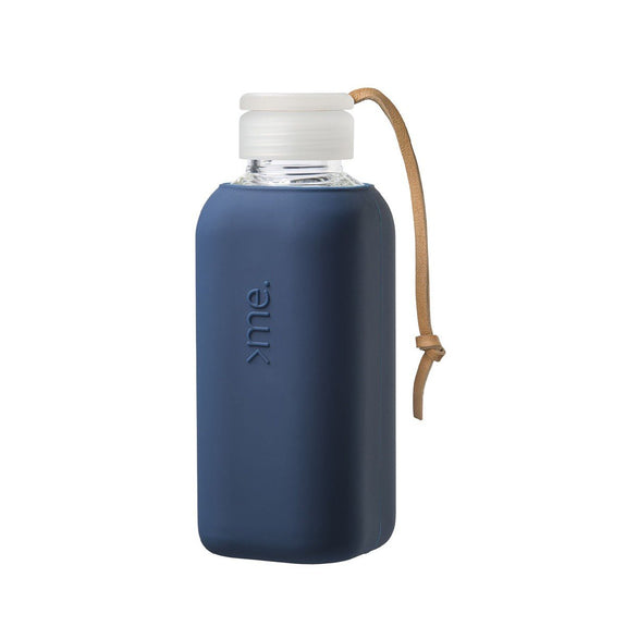 Squireme Glass drink bottle - Navy 600ml
