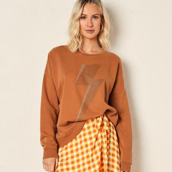 Slouchy Sweat - Camel with Bolt