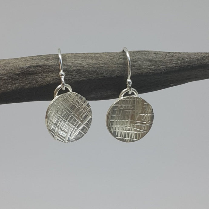 Dome Drop Crosshatch Earrings