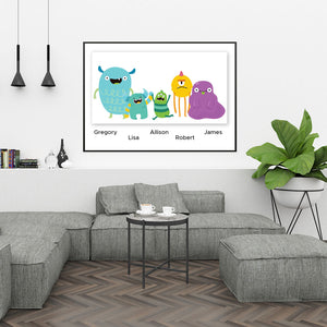 Family of Five Custom Print - Monsters