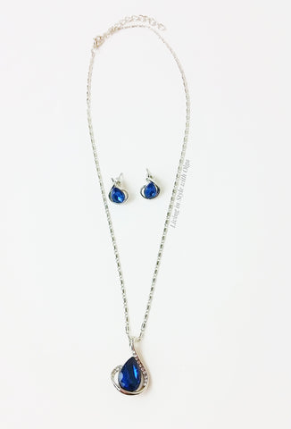 Necklace, earrings Indigo Drop set of earrings and necklace. - Living in Style with Olga