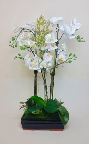 Home Decor Orchid real tauch arrangement , large,  white. - Living in Style with Olga