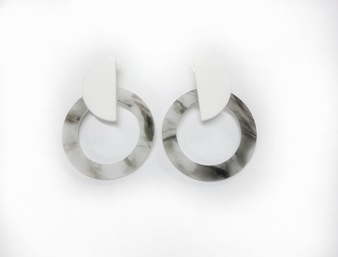 Earrings Marble Moon earrings, grey. - Living in Style with Olga