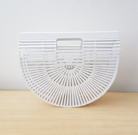 Clutch Bamboo basket bag, white. - Living in Style with Olga