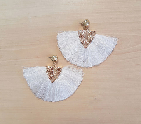 Earrings Gold leaf tassel earrings, white. - Living in Style with Olga
