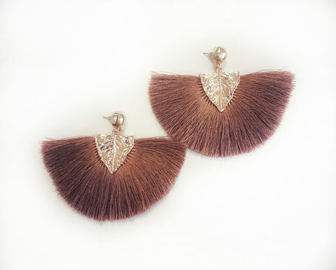 Earrings Gold leaf tassel, brown. - Living in Style with Olga