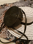 Clutch Ethnic rattan drum bag, black. - Living in Style with Olga
