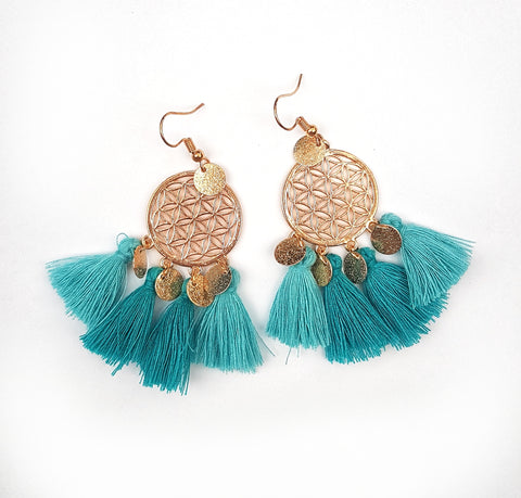 Dream Catcher earrings, aqua.