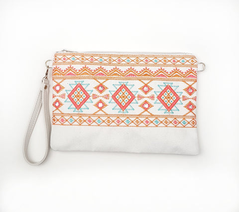Rombs embroided canvas clutch, cream.