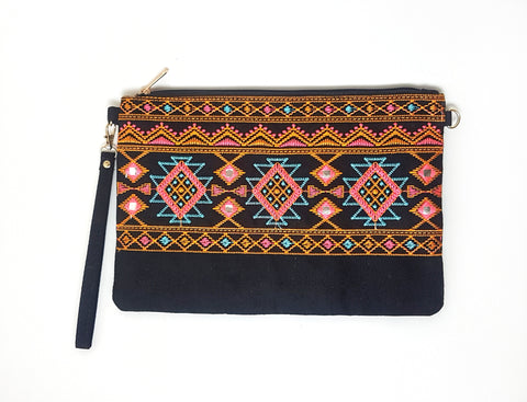 Rombs Embroided eco suede clutch, black.