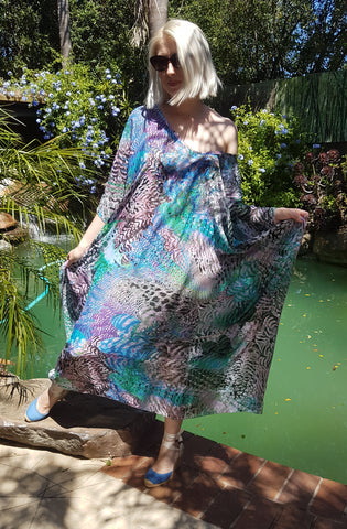 Huntington long kaftan, blue.