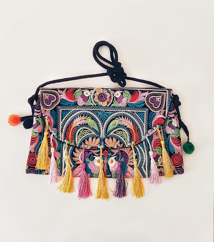 Gypsy Embroided clutch bag, tassels.