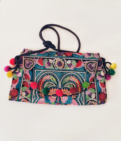 Gypsy Embroided clutch bag, pompom.