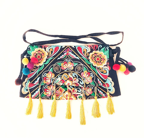 Gypsy Embroided tassel clutch bag, yellow.