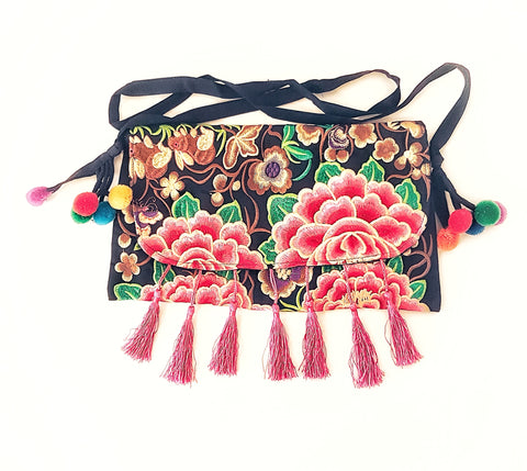 Gypsy Embroided tassel clutch bag, pink.