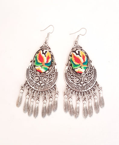 Gypsy Embroided dangle earrings, yellow.