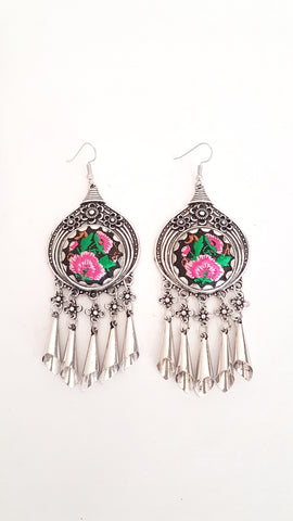 Gypsy Embroided dangle earrings, round.