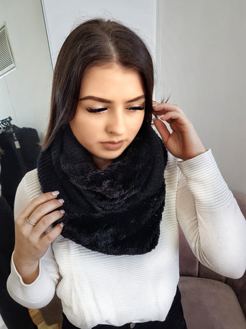 Knit fleece snood scarf, black.