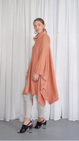 Roll neck oversized poncho, rust