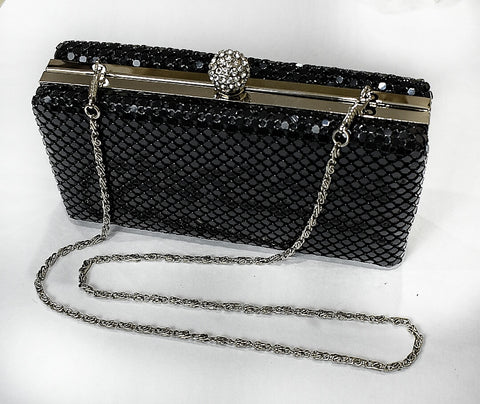 Clutch Black Mesh Clutch - Living in Style with Olga