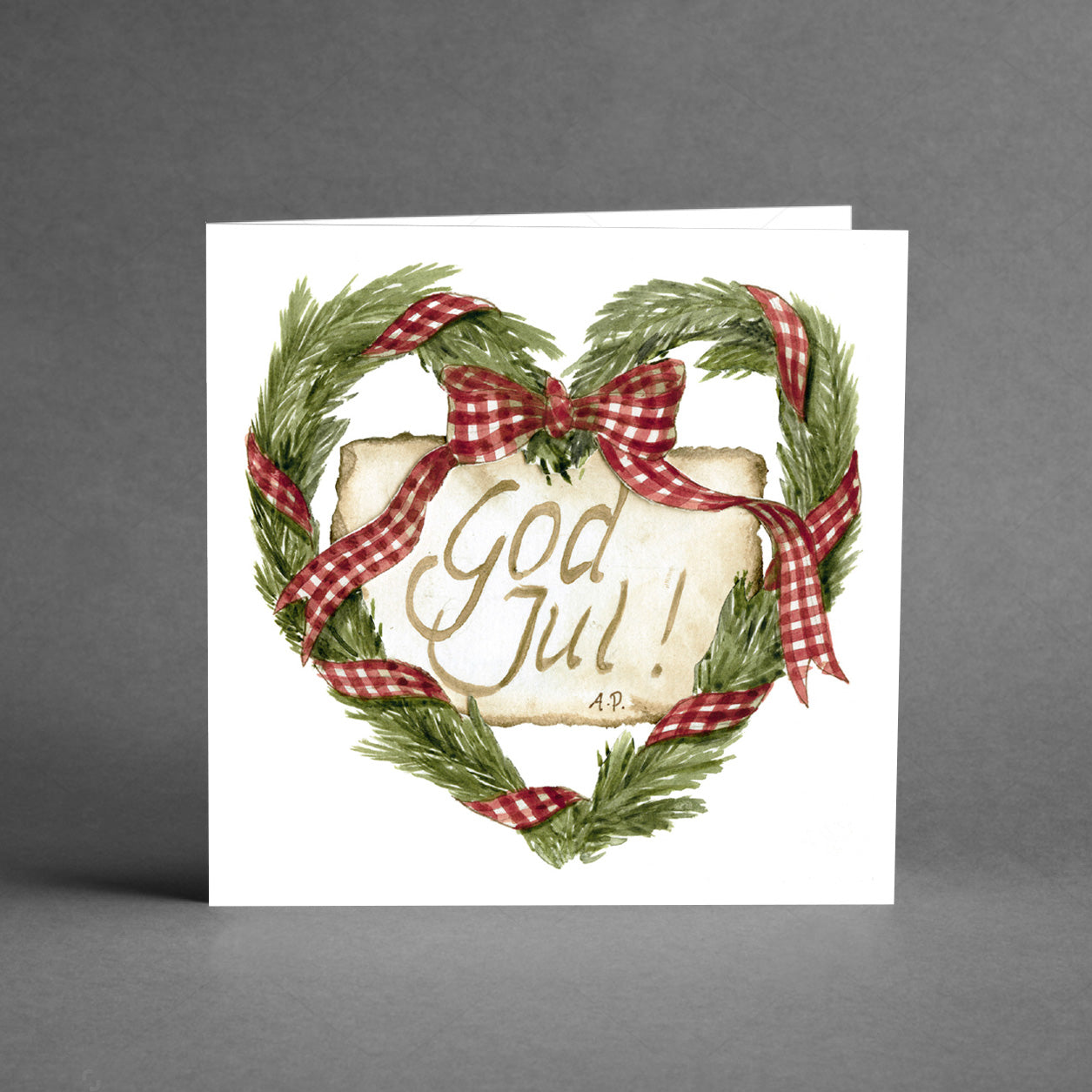 Kvadratkort - God jul krans [20-pack]