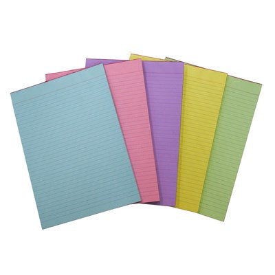 Quill Bank Office Pad Ruled A4 50GSM 80 Leaf RAINBOW