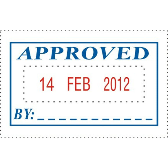 STAMP DESKMATE SELF INKING APPROVED/DATE BLUE/RED