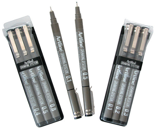 PEN ARTLINE DRAWING SYSTEM WLT 3 BLACK (.4/.5/.8)