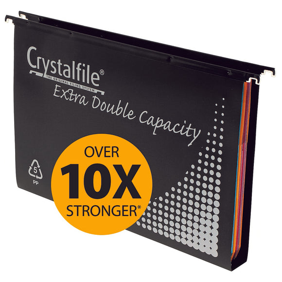 SUSPENSION FILES CRYSTALFILE PP DOUBLE CAPACITY  With TABS & INSERTS Pkt 10