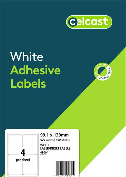 LABELS CELCAST 4UP 99.1X139MM LASER/INKJET WHITE PK100