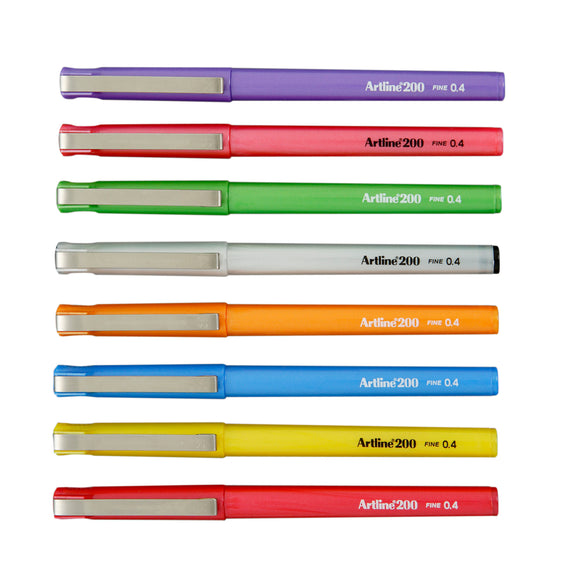 PEN ARTLINE 200 BRIGHT FINELINER 0.4MM ASST Wallet of 8