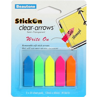 STICK ON ARROWS B/TONE 12X45 CLEAR ASST COLS