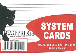 System Cards Panther 100x150 White Ruled Pack of 100