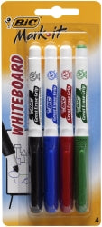 MARKER WHITEBOARD BIC MARK-IT BULLET TIP ASST Pack of4