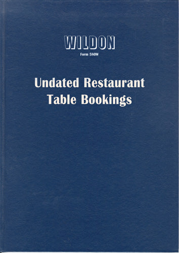 DIARY WILDON UNDATED RESTAURANT TABLE BOOKING 580W