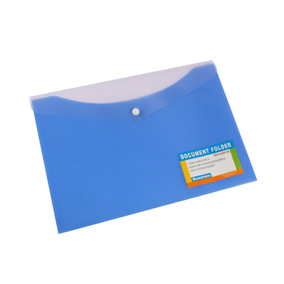DOCUMENT WALLET B/TONE A4 PP W/BUTTON PACIFIC BLUE
