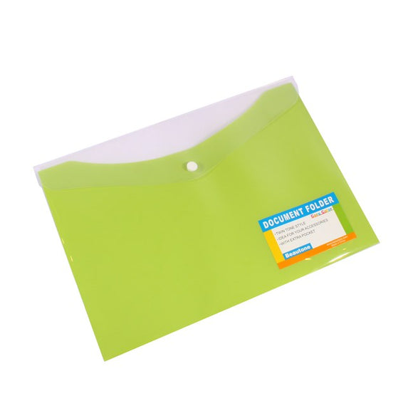 DOCUMENT WALLET B/TONE A4 PP W/BUTTON CARIBBEAN LIME