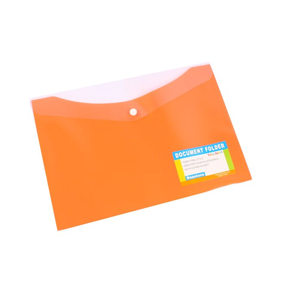 DOCUMENT WALLET B/TONE A4 PP W/BUTTON PAPAYA