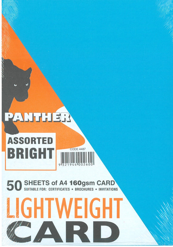Lightweight Card Panther 160GSM Assorted Bright Colours Pack of 50 Sheets.
