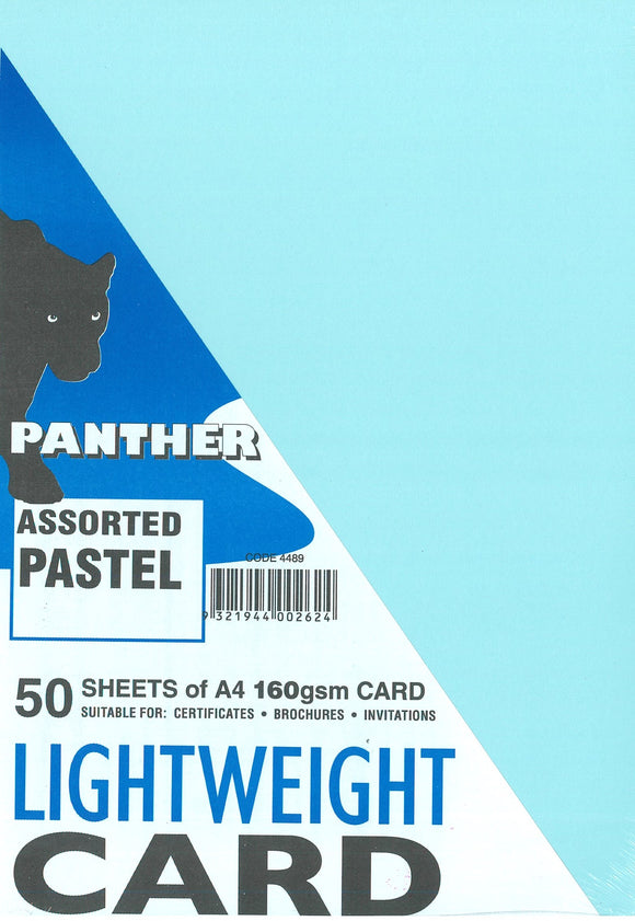 Lightweight Card Panther 160GSM Assorted Pastel Colours Pack of 50 Sheets.