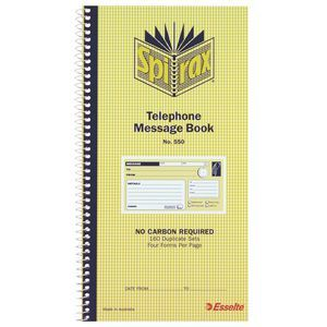 TELEPHONE MESSAGE BOOK SPIRAX 550 CARBONLESS  4 TO VIEW Quantity Discounts Apply