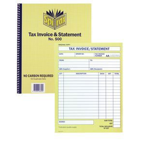 INVOICE / STATEMENT BOOK SPIRAX 500 DUPLICATE  CARBONLESS 10X8 50LF PACK OF 5