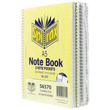 Spirax 570 Notebook 200 Page 7mm Ruled & Internal Pocket A5 Pack of 5