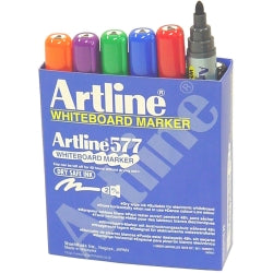 MARKER WHITEBOARD ARTLINE 577 3MM BULLET NIB ASST BOX12