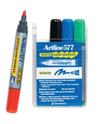 MARKER WHITEBOARD ARTLINE 577 2MM BULLET NIB ASST Wallet of 4