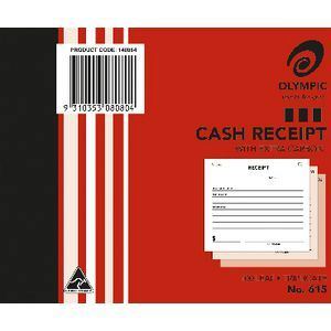 CASH RECEIPT BOOK #615 OLYMPIC TRIPLICATE 5X4