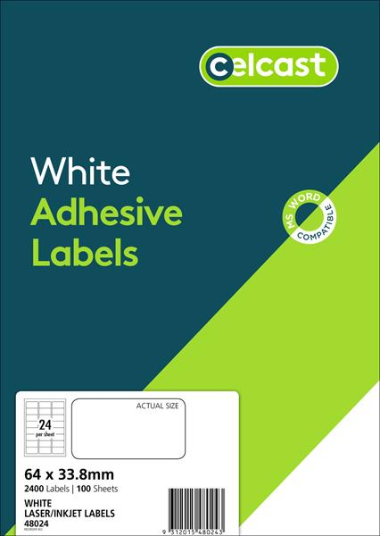 LABELS CELCAST 24UP 64X33.8MM LASER/INKJET WHITE PK100