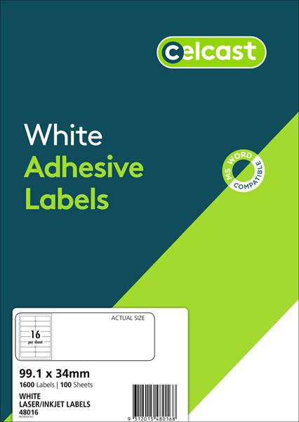 LABELS CELCAST 16UP 99.1X34MM LASER/INKJET WHITE PK100