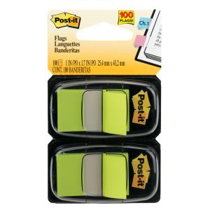 POST- IT FLAGS 680-BG2 TWIN PACK BRIGHT GREEN 100
